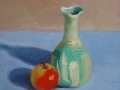 Turquoise Vase and Apple